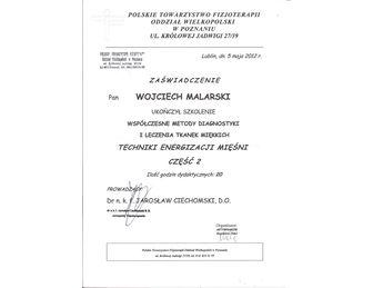 certyfikat leczenie tkanek miekkich energizacja miesni