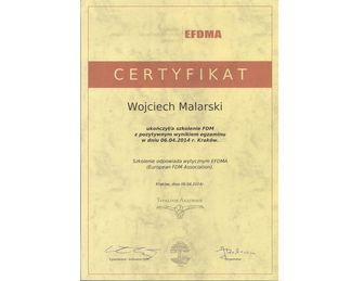 certyfikat wojciech malarski fdm