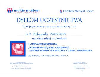 certyfikat malgorzata adamkiewicz Carolina 10.2001