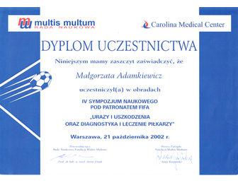certyfikat malgorzata adamkiewicz Carolina FIFA 10.2002