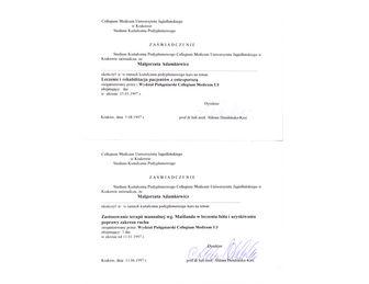 certyfikat malgorzata adamkiewicz Collegium Medicum