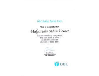 certyfikat malgorzata adamkiewicz DBC
