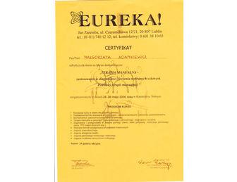 certyfikat malgorzata adamkiewicz EUREKA