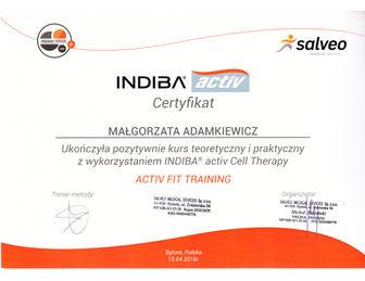certyfikat malgorzata adamkiewicz INDIBA 2016