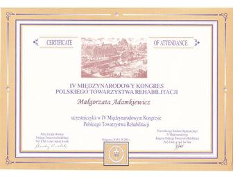 certyfikat malgorzata adamkiewicz Kongres PTReh 2001