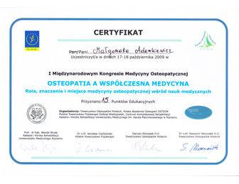 certyfikat malgorzata adamkiewicz Osteopatia 2009