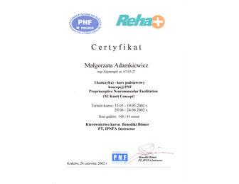 certyfikat malgorzata adamkiewicz PNF 2002