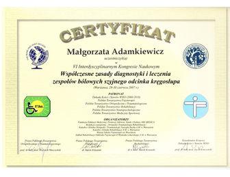 certyfikat malgorzata adamkiewicz PTReh 2007