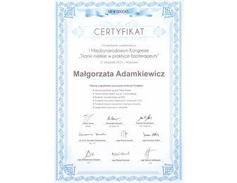 certyfikat malgorzata adamkiewicz Tkanki Kongres 11. 2015