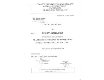 certyfikat Beata Smolarek